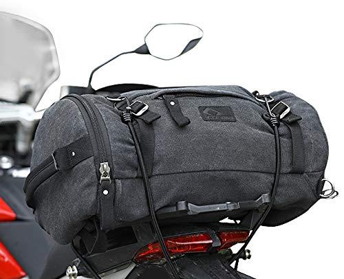 Motorrad Hecktasche Kompatibel für Vintage 35L Canvas Rucksack Gep°Ckrolle grau