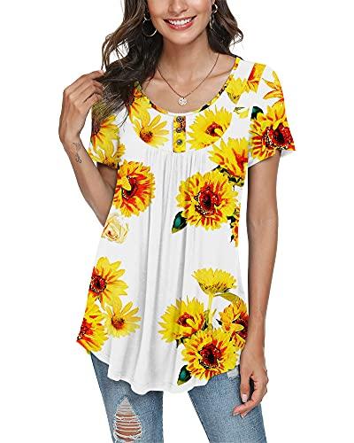 POPYOUNG - Blusa de verano casual de manga corta para mujer, con botones, top estilo túnica, Ruf-Short Sunflower White, L