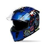 MOTUO Casco de Moto Integral, Casco Moto para Hombres, Mujeres, Cascos de Moto con Visera,Clear,S