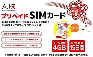 AJC(全日通) SIMカード 2GB/8日間 プリペイド SIM カード 日本国内用 ドコモ回線 4G LTE/3G (Nano SIM)