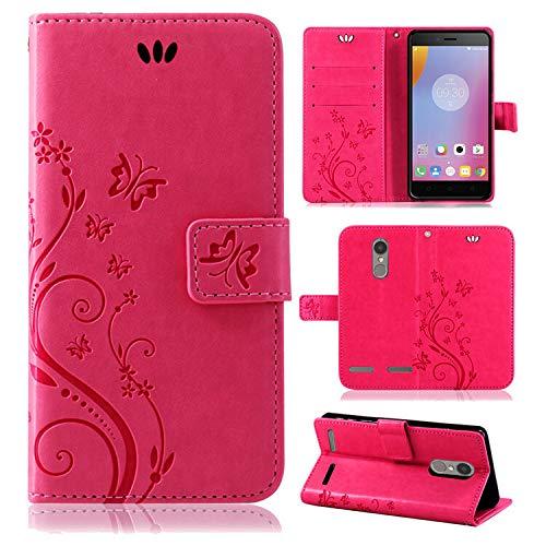 betterfon | Flower Case Handytasche Schutzhülle Blumen Klapptasche Handyhülle Handy Schale für Lenovo K6 / K6 Power Pink