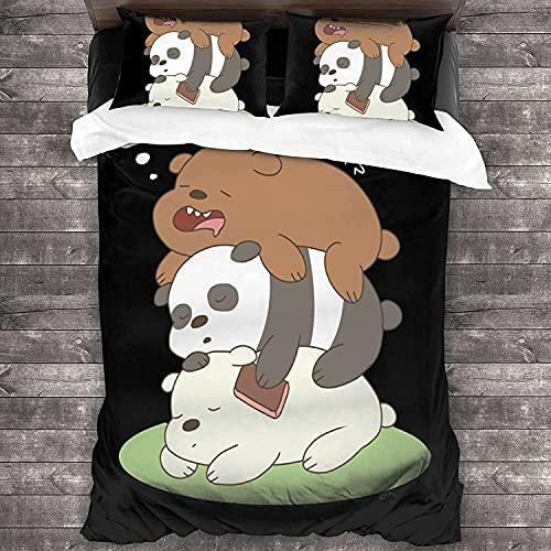 We Bare Bears, set copripiumino per bambini, motivo panda con 2 federe, in microfibra (220 x 240 cm + 50 x 75 cm x 2)