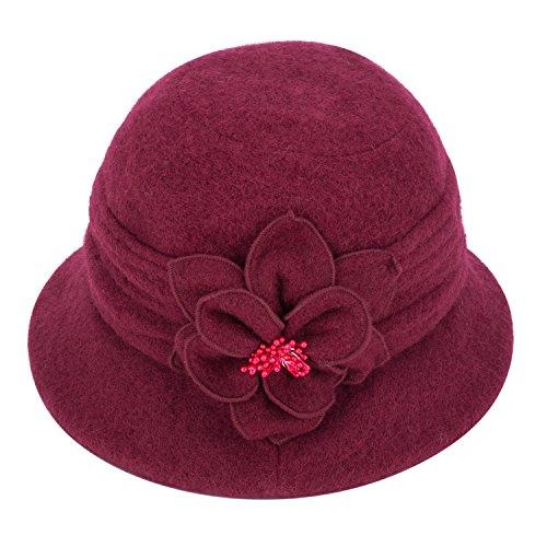 Lawliet Eleganter, klassischer Damenhut, Cloche, weiche Wolle, mit Blumenapplikation, Winterhut Gr. Einheitsgröße, burgunderfarben