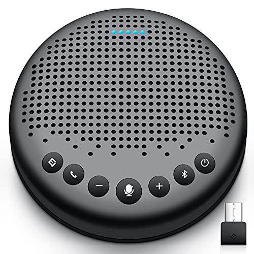 eMeet - Altavoz Bluetooth para conferencias - USB Manos Libres para 5 -10 Personas Speakerphone 360 ° reconocimiento de voz con USB Dongle, para Zoom, Skype, comunicación VoIP PC, etc