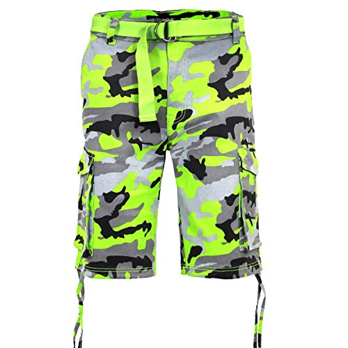 Victorious Men's Belted Ripstop Twill Camo Cargo Short DS2065 - Lime - 36 - V-J31