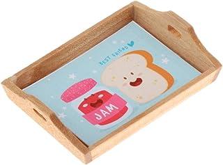 simhoa 1:12 Scale Doll House Mini Wooden Tray Simulation Kitchen Supplies Scenery Decor - Jam