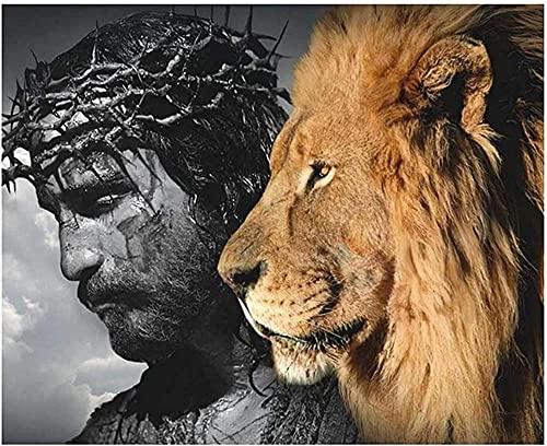 A-Generic Fall Pictures Jesús León de Judá Resumen Pósters e Impresiones Grandes Lion Head Animales Pinturas Nordic imágenes27 6x35 4in (70x90cm) Sin marco-19.7x27.6in (50x70cm)