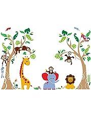 decalmile Pegatinas de Pared Árbol Animales de la Jungla Vinilos Decorativos Infantiles Mono Jirafa Elefante Adhesivos Pared Habitación Bebés Niños Guardería Dormitorio Salón