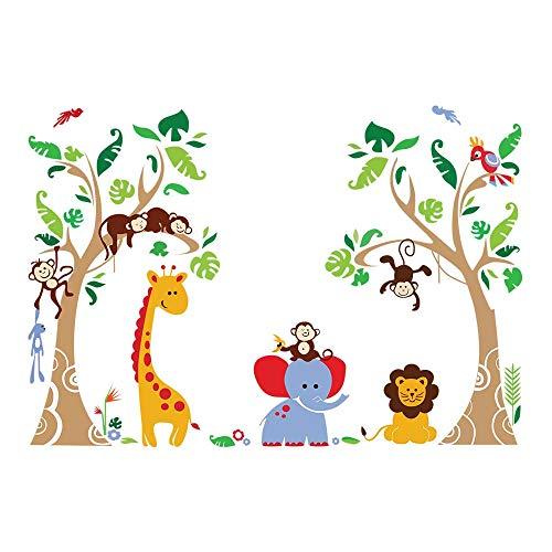 decalmile Adesivi Murali Albero Animali della Giungla Adesivi da Parete Bambini Elefante Giraffa Scimmia Decorazione Murale Camerette Bambini Asilo Nido Camera da Letto Soggiorno
