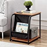 VECELO Modern Nightstand Side End Table with Magazine Holder Sling Stackable Accent Furniture for Office Living Room and Small Spaces, Easy Assembly, Brown