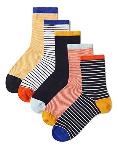 Fa M ou S High St Store Women's Ankle High Cotton Rich Sumptuously Soft Socks 5 Pack (UK 3-5, Orange Mix Stripes)