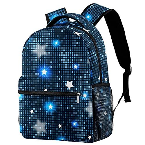 Z&Q Mochilas infantiles Azulejos abstractos estrellas azules Mochila escolar unisex de para llevar libros 29.4x20x40cm