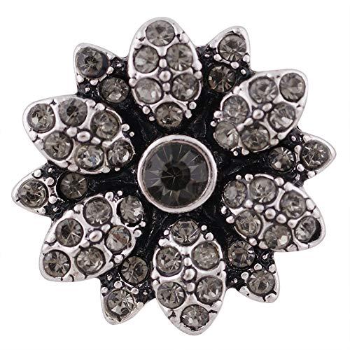 Intercambiables Snap joyería 18mm rhinestone flor gris (por mi primer Regalos
