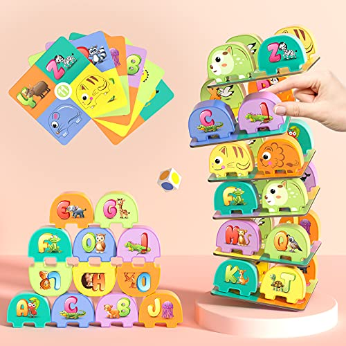 TEMI Elephant Balancing Stacking Blocks Board Game for Kids Jenga Game Alphabet Number Animals Learning Toys Preschool Educational Games for Toddlers 55 PCS