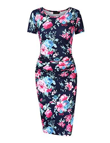 GloryStar Women's Sleeveless Short Sleeve Ruched Midi Bodycon Sheath Pencil T Shirt Dress (XL, Navy Floral)