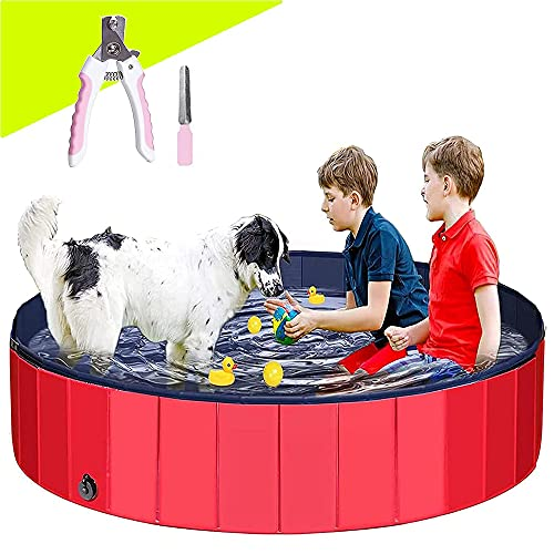 Dog Pool Foldable Paddling Pool 63' (160X30CM) ) Dog for Large Dogs Swimming Pool Portable PVC Non-Slip Bathing Tub Children Pet Dog Pool