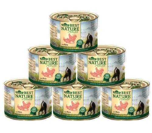 Dehner Best Nature kattenvoer voor volwassenen, zalm en kip, 6 x 200 g (1,2 kg)
