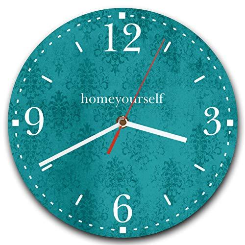 Homeyourself LAUTLOSE runde Wanduhr Petrol türkis Muster Vintage aus Metall Alu-Verbund lautlos Uhrwerk rund modern Dekoschild Bild 30 x 30cm