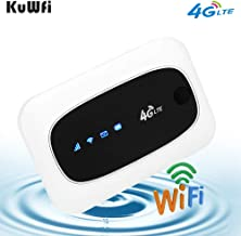 KuWFi 4G LTE Mobile WiFi Hotspot Travel Router Partner Wireless SIM Routers with SD SIM Card Slot Support LTE FDD/TDD Work for USA/CA/MX Europe Africa Asia Oceania Almost Universal