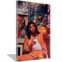 ラッパーJ.コールキャンバス絵画アートポスターキャンバス壁アート絵画リビングルームオフィス家の装飾寝室の装飾ポスター絵画60x90cm(24x36inch)内枠