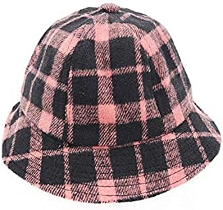 Baby Decoration Hat Kids Plaid Packable Soft Cap Children Winter Keep Warm Bucket Hat for 1-3 Years Old(Blue) Cute Cap (Color : Pink, Size : 48-50cm)