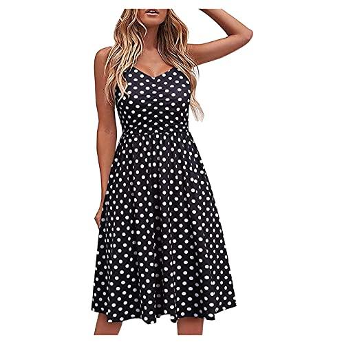 ERNUMK Vestido de verano para mujer, largo hasta la rodilla, vestido de playa, bonito, elegante, bohemio, puntos, informal, suelto, vestido de noche, línea A, mini vestido, Negro , L