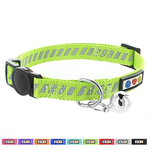 PAWTITAS Reflektierendes Katzenhalsband für den Straßenverkehr mit Sicherheitsschnalle und Abnehmbarer Glocke Katzenhalsband Kätzchenhalsband Grün Katzenhalsband
