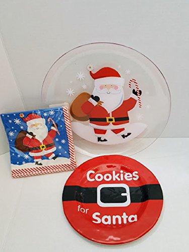 Santa's Cookie Plates Napkins Party Kit Christmas Party Supply Christmas Treat Plates,Christmas Serving Plates