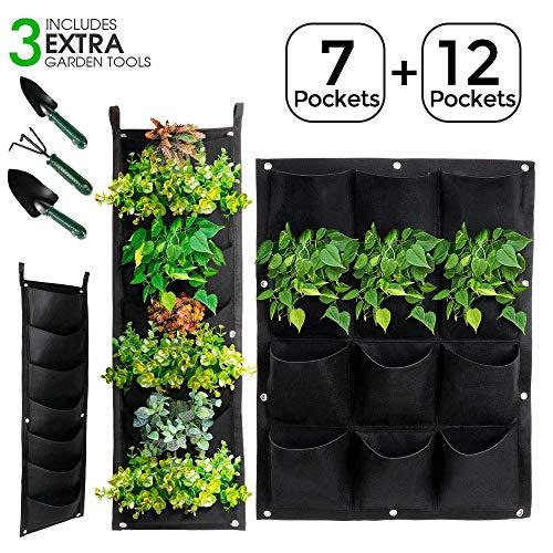 Masthome 3 Stück Pflanztaschen 2 x 7 + 1 x 12,Bepflanzung Taschen,Wand-Pflanzkissen Wandbegrünung für Balkon und Terrasse kann Pflanzen Wand wie Kräuter,Blumen und Erdbeere