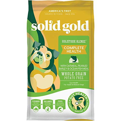 Solid Gold - Holistique Blendz with Oatmeal, Pearled Barley & Ocean Fish Meal - Holistic Sensitive Stomach Dry Dog Food for Adult & Senior Dogs - 4lb Bag