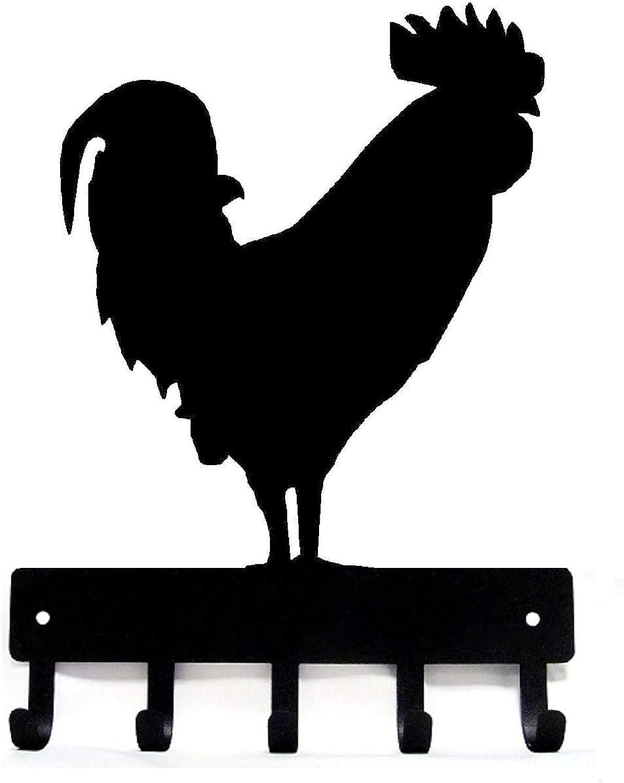 The Metal Peddler Rooster  02 Farm Key Rack - Large 9 inch Wide