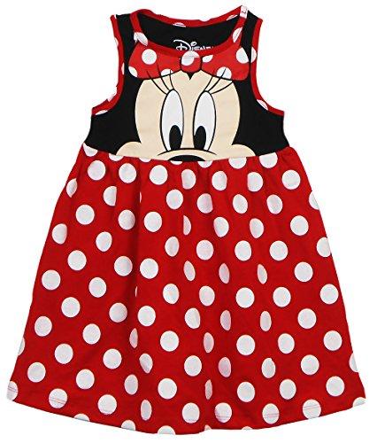 Disney Toddler Girls Minnie Face Dress, Red Polka Dot 3T