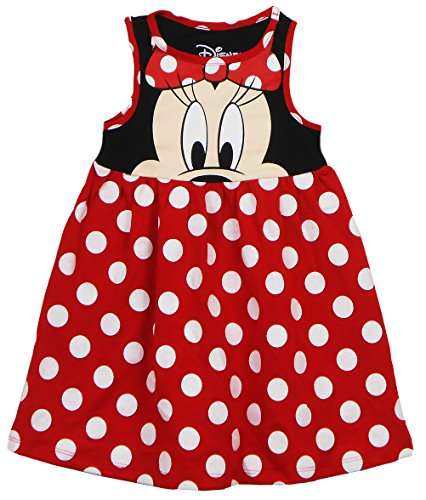Disney Toddler Girls Minnie Face Dress, Red Polka Dot 4T