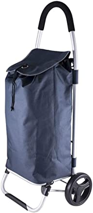 Karlstert Lightweight Shopping Foldable Trolley/Bag/Luggage w/Wheels Navy Blue
