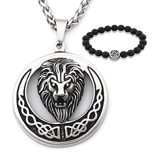 Gungneer Celtic Lion Necklace Irish Knot Pendant Stainless Steel Chain Protection Amulet Trinity Jewelry Men Women