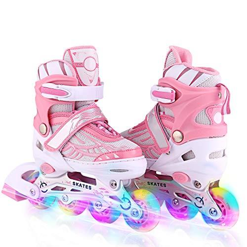 Inline-Skates Rollschuhe für Kinder/Jungen/Mädchen Canvas-Design verstellbar mit leuchtenden PU-Rädern Triple Protection Lightweight Inline-Skates (Rosa 3, M: 35-38 EU)