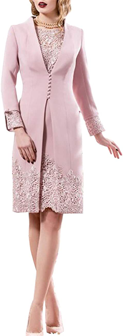 Melisa 2 Piece Elegant Lace Mother of The Groom Dresses with Long Sleeve Jacket Formal Party Gown for Women