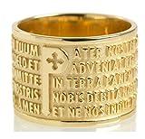 Anillo Tuum Origine de oro amarillo de 18 quilates con Padre Nuestro en latín