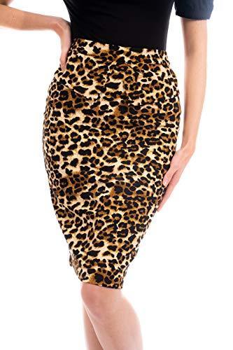 Ro Rox Joan Modern Vintage Falda Lápiz Formal Estilo Retro 1950 - Leopardo (L)