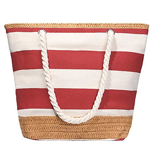 flintronic® Bolsa de Playa para Mujer, Totalizador de Lona de Verano, Bolso Grande con Asa de Cuerda para Playa, día de Fiesta, Compras, Viajes, Picnic - Rojo + Blanco