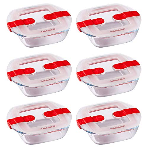 Pyrex Microwave Safe Classic Square Glass Dish with Vented Lid 1L Red (Pack of 6)