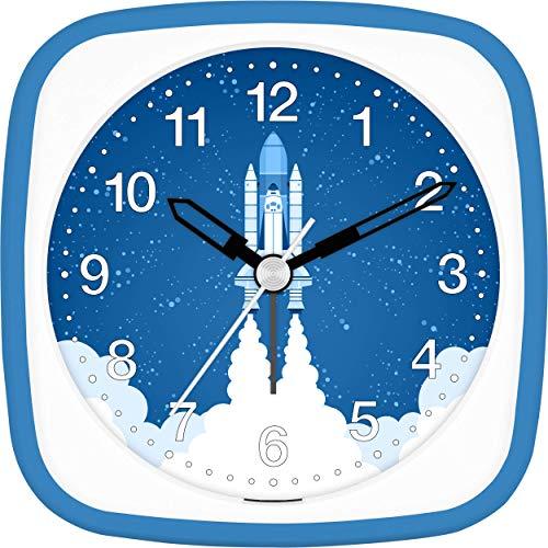 Eurotime Wecker Jungen Rakete Space Shuttle, Kinderwecker, Blau, Kunststoffgehäuse und Kunststoffglas, geräuscharmer Wecker, ohne Ticken, mit Licht und Weckwiederholung, 27134-08