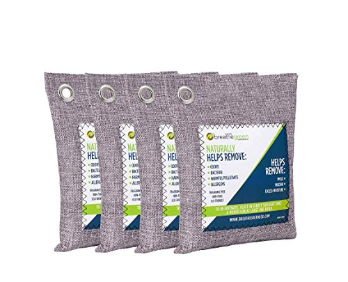 Breathe Green Bamboo Charcoal Air Purifying Bag (4-Pack), Activated Charcoal...