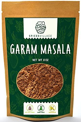 SPICES VILLAGE Indian Garam Masala Powder (8 oz), Kosher Certified, Spicy Blend for Tikka Masala, Tandoori Masala Seasoning, Eastern Spice for Cooking, Gluten Free, Non GMO, Resealable Bulk Bag