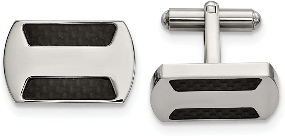 Stainless Steel Polished with Black Carbon Fiber Inlay Cuff Links (17.4mm x 18.5mm)
