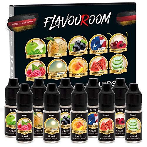 Flavouroom - Premium E Liquids 10 x 10 ml I Liquid ohne Nikotin I E-Liquid 50{da31f34aac4b7024b6e095d1768926e6c43101c15e2258609781cc94c224739f} VG I 50{da31f34aac4b7024b6e095d1768926e6c43101c15e2258609781cc94c224739f} PG I Liquid mit Aroma Anteil für E-Zigarette, E-Shisha Dampfer I Ersatz für Zigarette, Tabak I Made in Germany