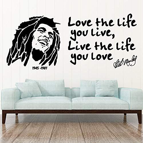 Reggae Music Star Legende Sänger Bob Marley Porträt Inspirierende Zitate Wandaufkleber Vinyl Aufkleber Fans Schlafzimmer Wohnzimmer Club Studio Home Decor Wandbild