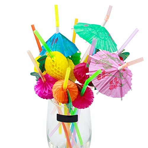 WEONE 200 Stück Kunststoff Strohhalme für Cocktail, Knickbare Trinkhalme, Regenschirm Obst Einweg Strohhalme für Hochzeit Geburtstag Jahrestag Hawaii Party, 24cm Bunt