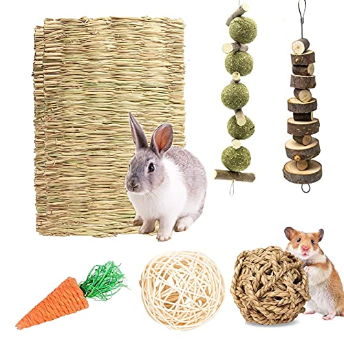 Bunny Chew Toys,Rabbit Hamster Chew Toys with Grass Mat Woven Bed Mat,Bunny Bedding Nest Chew Toy...