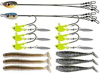 Ilure Alabama Rig Umbrella for Bass Fishing 3 Arms Swim Baits Lures Bait Kit for Freshwater Trout Salmon 2 Pcs
